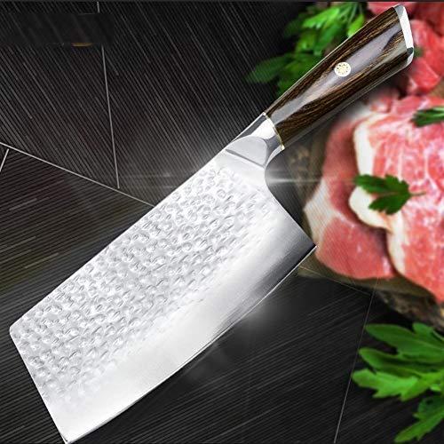 Chino Cuchillo de cocina de 7 pulgadas Cleaver cuchillo de acero inoxidable 7Cr17 440C forjado espiga completa chef carnicero Chopper herramienta Santoku Carne cocina