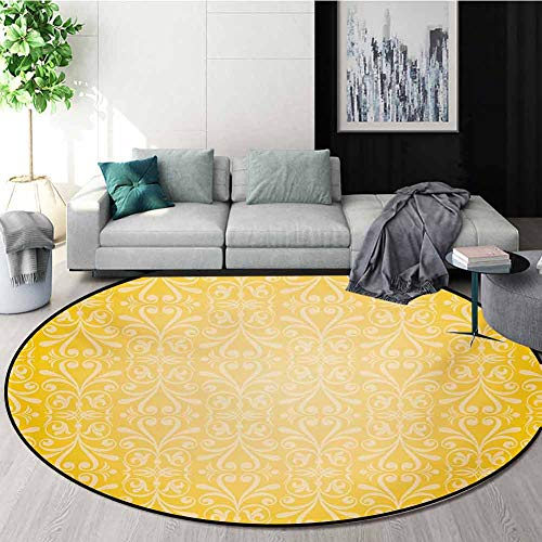 Sale!! RUGSMAT Vintage Yellow Modern Machine Round Bath Mat,Victorian Style Swirls Timeless Royal Mo...