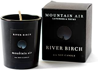 River Birch Candles LLC Mountain Air Soy Candle – Lavender & Thyme Scented Luxury Candle – Eco-Friendly Vegan Wax – Long Lasting Fragrance (2 Oz, Mountain Air)