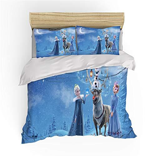 Disney Frozen Print Children Bedding Set,Cartoon Anime Character Olaf Anna Elsa Microfiber Duvet Cover,for Boys Girls Kids Single Double Bed (B,135X200)