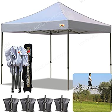 AbcCanopy 10x10 Pop up Tent Instant Canopy Commercial Outdoor Canopy with Wheeled Carry Bag and 4x Weight Bag (gray)