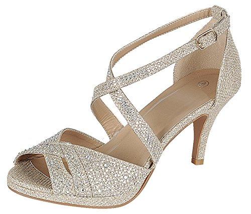 Cambridge Select Women's Peep Toe Crisscross Ankle Strappy Glitter Crystal Rhinestone Mid Heel Sandal (8.5 B(M) US, Champagne)