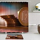 Juego de Cortinas y tapetes de Ducha de Tela,Patrón Euro Cent,Cortinas de baño repelentes al Agua con 12 Ganchos, alfombras Antideslizantes