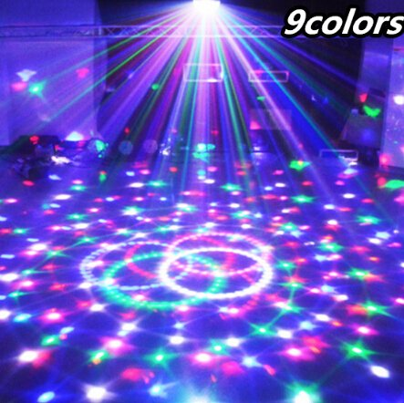 Best to Buy (1-Pack) 9 Colors 27W Crystal Magic Ball Led Stage Lamp 21Modes Disco Laser Light Party Lights Sound Control Christmas Laser Projector