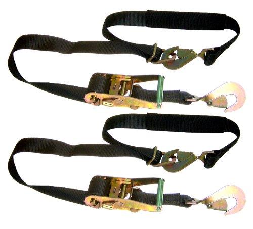 """Pit Posse Rt04C506-2 2 Auto Car Trailer Tow Hauler 2"""" Tie Downs Ratchet Combo Axle Strap 6 Ft Length (Black)"""