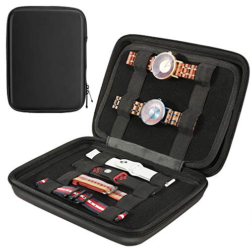 MoKo Caja de Almacenamiento De Correa de Reloj, Estuche Portátil de Almacenamiento de Viaje, Bolsa de Organizador Multifuncional con Cremallera para Cable, Accesorios de Bandas de Reloj - Negro