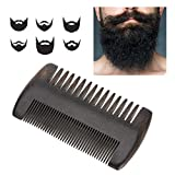 Beard comb, beard styling comb, hair straightening comb Beard straightener for men Ebony Mustache Shaper with black PU leather case Styling Comb Tool Beard comb for trips home and salon