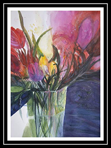 Tulpen in Vase 46x61 cm original Aquarell