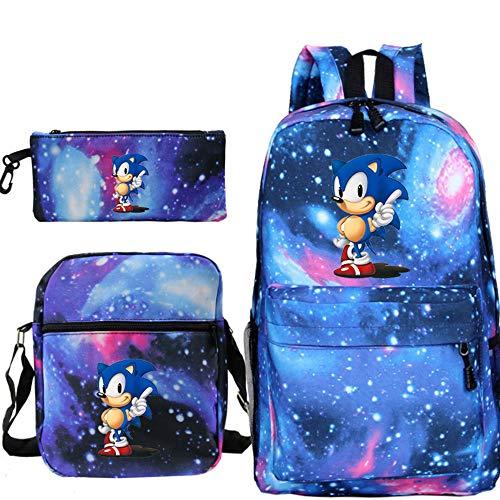 Juego de 3 Piezas Mochila Sonic Niños Dibujos Animados, Mochila para niñas con patrón de Moda Sonic The Hedgehog Mochila Escolar, Mochila de Viaje Escolar para Hombres y Mujeres