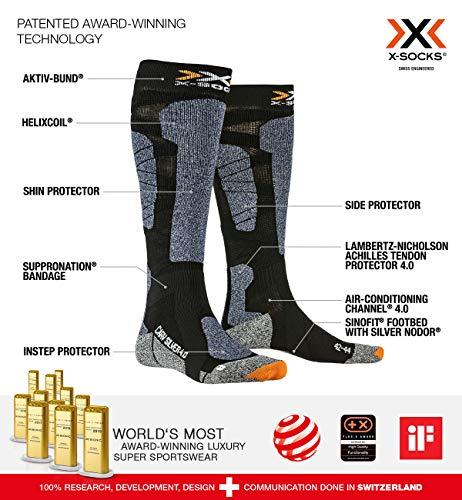 X-SOCKS Carve Silver 4.0 Chaussettes d'hiver Black/Blue Melange FR : XL (Taille Fabricant : 45/47)