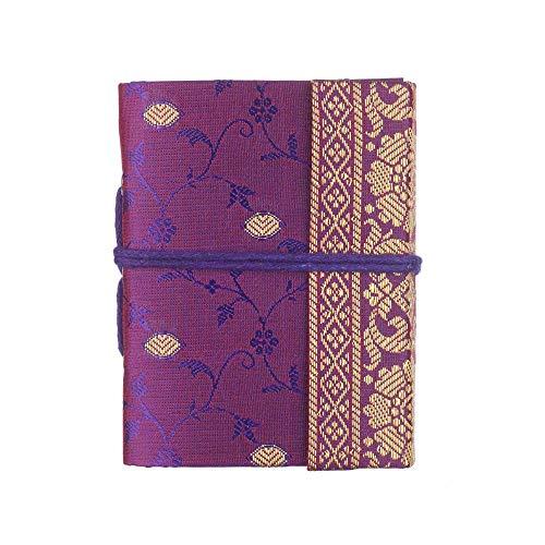 Cuaderno Sari Mini 8 cm x 10,5 cm - Morado - Papel reciclado sin forro - Cierre elástico - Cuaderno de bolsillo y diario - Regalo de papelería indio - Para hombres, mujeres, estudiantes