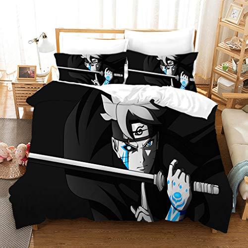 Jiaxiin Naruto - Uzumaki Naruto Black Background Anime 3pcs Bedding Duvet Cover Sets Soft Quilt Cover with Zipper Cotton Pillowcase (EU-Double)