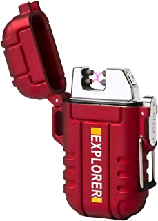 lcfun Waterproof Lighter Outdoor Windproof Lighter Dual Arc Electric Lighters Rechargeable-Flameless-Plasma Lighter for Camping,Hiking,Outdoor Adventure (Red)