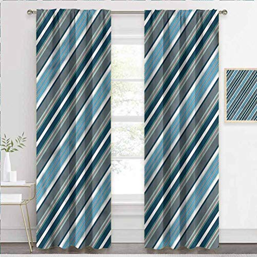Printed Curtains Striped, Gray and Blue Diagonal Patio Sliding Door Curtain Softens The Whole Room W84 x L84 Inch
