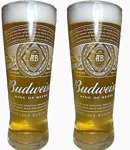 Budweiser 2020 - Confezione da 2 bicchieri da pinta nucleati (King of Beers)