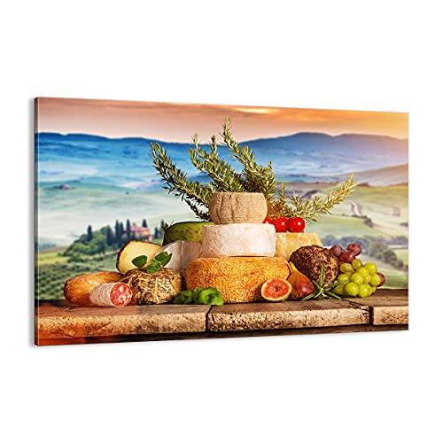 ARTTOR Quadro su Tela - Elemento Unico - Toscana Formaggio Frutta Italia - 120x80cm - Pronto da Appendere - Home Decor - Stampe su Tela - Quadri Moderni - Completamente incorniciato - AA120x80-2902