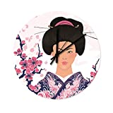 Reloj de pared japonés Geisha con diseño de flor de cerezo de madera, para la oficina, el salón, el dormitorio, la habitación de los niños, la cocina, sin ruidos de tic-tac., blanco, 30x30x0.5cm