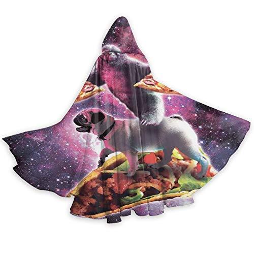DPQZ - Capa con capucha para Halloween, diseo de perezoso con pizza para montar a caballo, taco, bruja, Navidad, adulto, cosplay, fiesta, disfraz