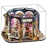 F Fityle Kit de casa de muñecas de Madera, con Muebles realistas y luz LED, Tienda de café y Libros en Miniatura de Bricolaje, casa de diseño 3D, Rompecabezas