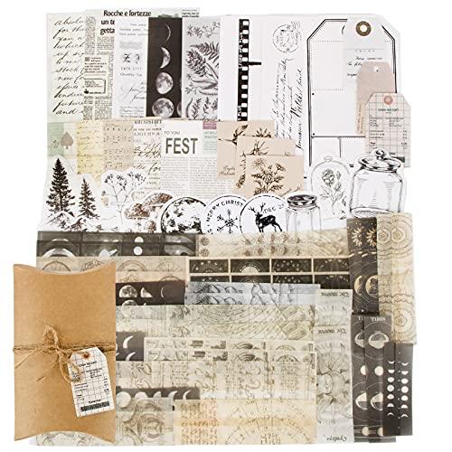 FLOFIA 70pcs Pegatinas Vintage Retro Stickers Pegatinas Scrapbooking Pegatinas Álbumes de Recortes Manualidades Bullet Journal Calendarios Tarjetas Sobres Regalos DIY, Estilos Mixtos Kit Accesorios