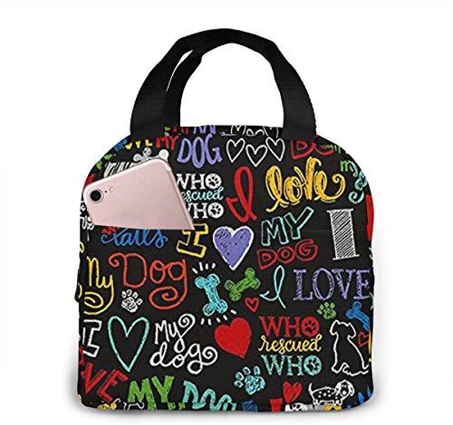 Jupsero Animal Novelty I Love My Dog Lunch Bag pour Femmes Filles Enfants Pochette Pique-Nique Isolée Gourmet Tote Cooler Pochette Chaude pour Bureau de Travail Scolaire, Camping, Voyage, Pêche
