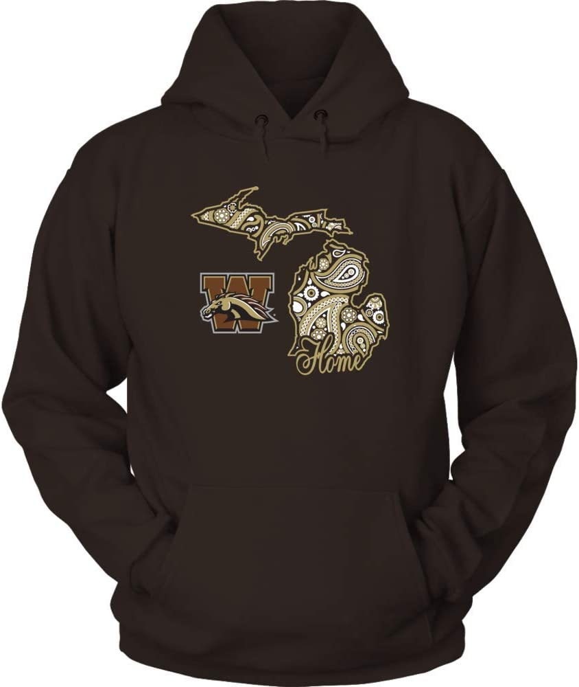 FanPrint Western Michigan Broncos Hoodie - Home in State Outline Paisley