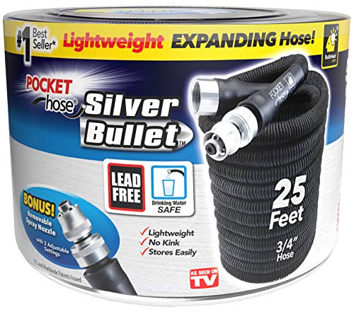 Pocket Hose Original Silver Bullet (25 Ft) Lightweight Water Hose by BulbHead - Expandable Garden Hose That Grows with Lead-Free Connectors - Safe Drinking Water Hose – Kink-Resistant & Stores Easily!