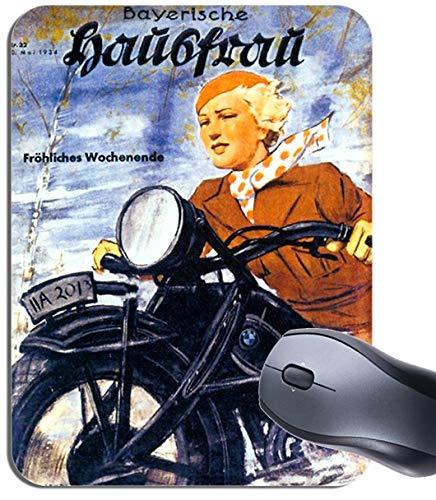 Vintage BMW Motorrad Biker Girl Mousepad Mauspad Motorrad Frau Klassik