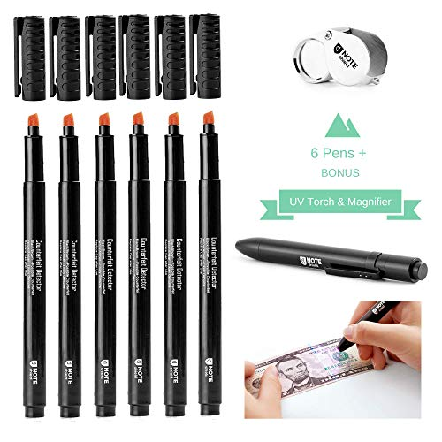 NoteShield Counterfeit Bill Detector Markers + Bonus UV Light + Bonus Magnifier - Small Business Security Dollar Tester Markers (6 Pens)