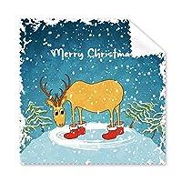 クリスマス シカ メリークリスマス フェスティバル イラスト パターン メガネ クロス クリーニング 布 電話画面クリーナー 5個