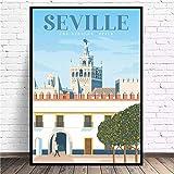 VVSUN Póster de Lienzo de Arte de Viaje Simple de Sevilla, impresión Moderna, Arte de Pared, decoración del hogar, Pintura, 50x70 cm (sin Marco)