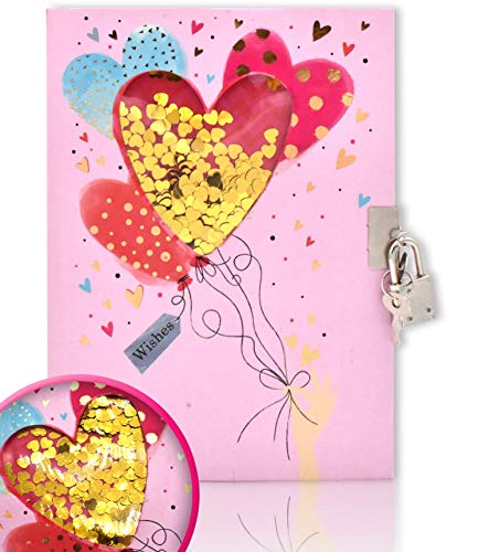 EverCreatives Diary with Lock for Girls and Boys, Heart Pattern Shakable Sequin Journal Secret Lock Diary Notebook for Kids