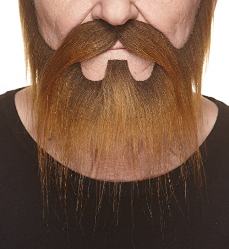 Mustaches Self Adhesive, Novelty, Nomad Fake Beard and Fake Mustache, False Facial Hair, Costume Accessory for Adults, Brown Color
