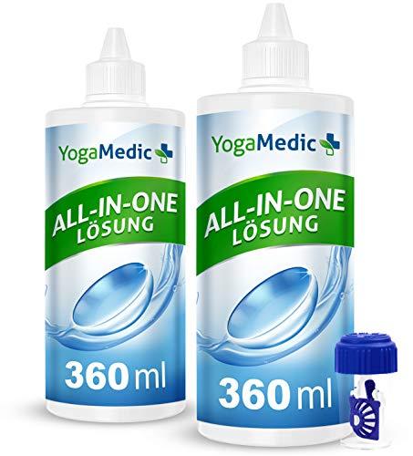 PREMIUM Kontaktlinsen Fluessigkeit für weiche Linsen, bester Tragekomfort dank Panthenol, Made in Germany - 2 Flaschen ALL-IN-ONE Kontaktlinsenflüssigkeit für Monats- und Wochenlinsen, 1 Behälter