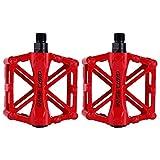 zjchao Pedales para Bici BMX Bicicleta de montaña MTB Ciclismo de Carreras Ultraligero Pedal de aleación (Rojo)