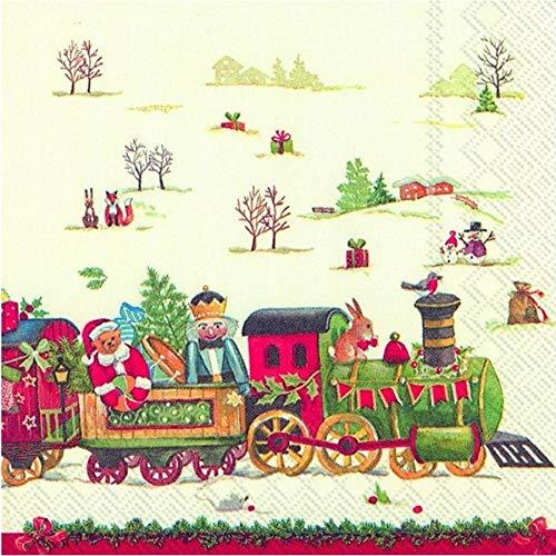 Ihr Weihnachten Spielzeug Zug Cocktail oder Tee Kleine Papierservietten Papier Servietten 3-lagig