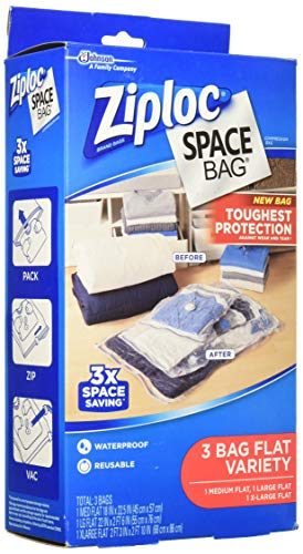 Ziploc Flat Space Bags, For Organization and Storage, Reusable, Waterproof Bag, Pack of 3 (M, L, XL)