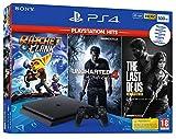 PS4 SLIM 500 Go F Black + The Last Of Us HITS + Ratchet & Clank HITS + Uncharted 4 HITS [Importación francesa]