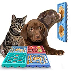 4-in-1 Interactive Dog Puzzle Toys Featuring Combination Slow Feeder and Dog Lick Mat/Cat Puzzle Feeder