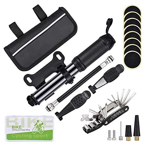 Viudecce Kit de ReparacióN de NeumáTicos de Bicicleta Herramienta de ReparacióN de Bicicletas PortáTil y Kit de PuncióN con Bomba de 120 PSI, Herramienta MultifuncióN 16 en 1