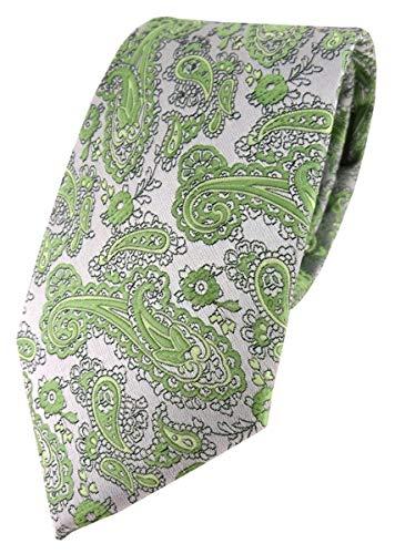 TigerTie Corbata de diseño con estampado de cachemira., Verde y plateado., Talla única