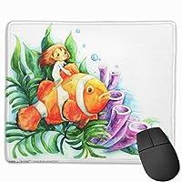 マウスパッド グリーンウォーターの漫画の魚Plants.jpeg ゲーミングマウスパット 最適 高級感 おしゃれ 防水 耐久性が良い 滑り止めゴム底 ゲーミングなど適用 マウスの精密度を上がる( 25*30 Cm )