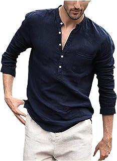 Zrom T Shirt for Men Stylish,Men Vintage Pure Color Button Linen Solid Long Sleeve Retro Shirts Tops Blouse