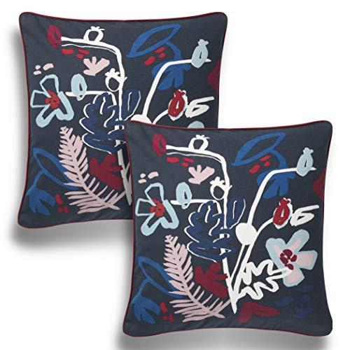Lidoma 2er Set Kissenbezug 50 x 50 cm dunkelblau bunt, Kissenhülle, Dekokissen, Zierkissen, Dekorative Sofakissen, IKEA MALARBORSTE, Nachhaltig, ohne Füllung