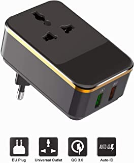 European Travel Plug Adapter, EU Power Plug Converter with 2 USB Ports (Quick Charge 3.0), 2500W High Power AC Outlet Socket for Plug of US and Most of World