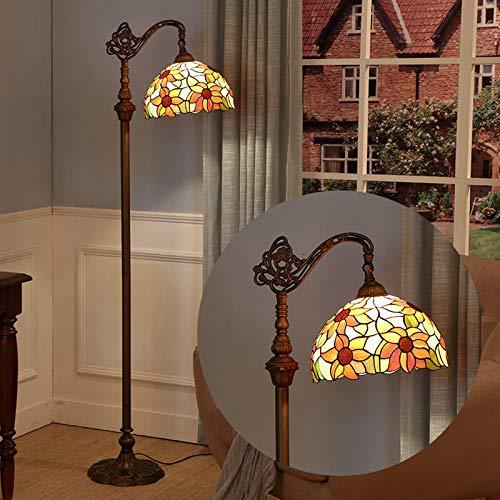 WRMING 12W LED Tiffany Stehlampe Dimmbar, Glasmalerei Stehleuchte mit Fernbedienung und Fußschalter, Schlafzimmer Lampe leselampe Tiffany Stil Vintage Standleuchte Für Wohnzimmer,E27
