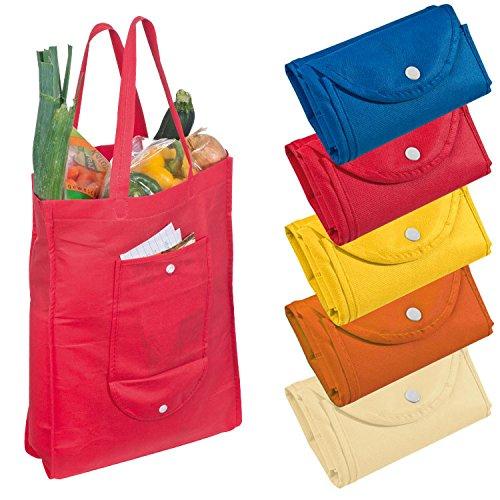 4x Non-Woven Einkaufstasche / Farbe: je 1x blau, rot, gelb und orange