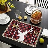 Juego de 4 manteles individuales con diseño de copo de nieve y reno rojo de búfalo a cuadros, de algodón y lino, resistentes al calor, antideslizantes, lavables, para decoración de mesa