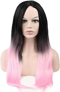 ウィッグ - ファッションロングストレート高温シルクウィッグ自然に現実的なプロムハロウィンコスプレ70cmブラックピンク (色 : Pink, サイズ さいず : 70cm)