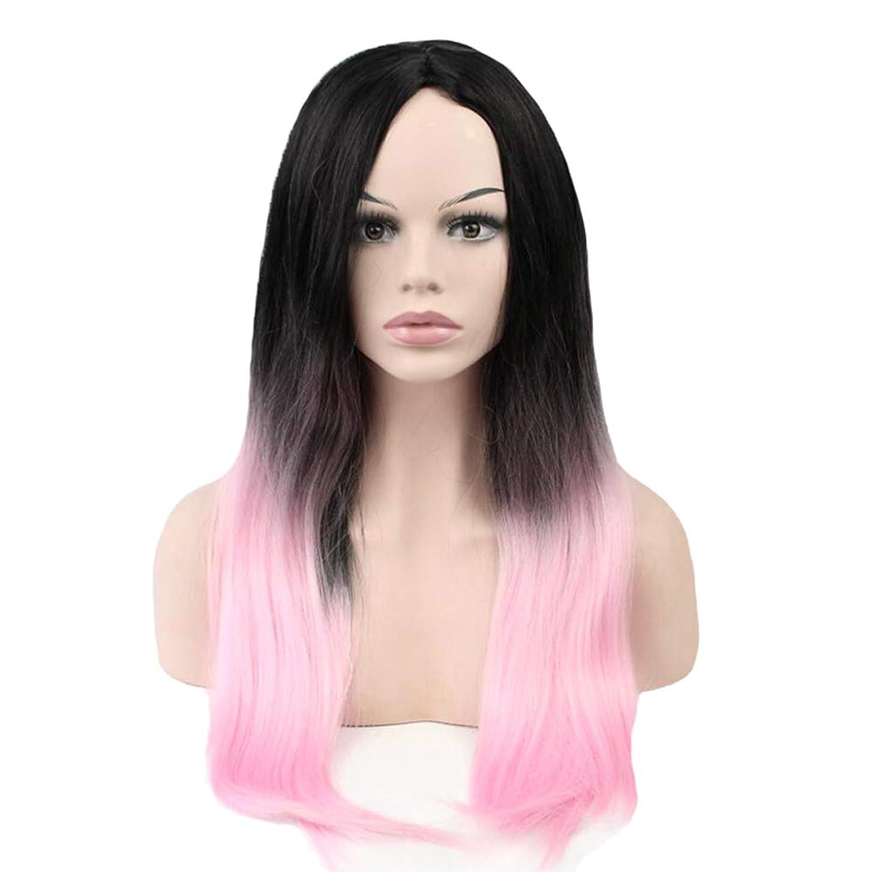 懇願する乱気流トランザクションウィッグ - ファッションロングストレート高温シルクウィッグ自然に現実的なプロムハロウィンコスプレ70cmブラックピンク (色 : Pink, サイズ さいず : 70cm)